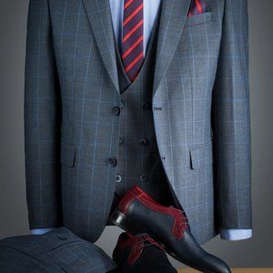 Other - 3 pieces slim fit suit plaid pattern grey smoke